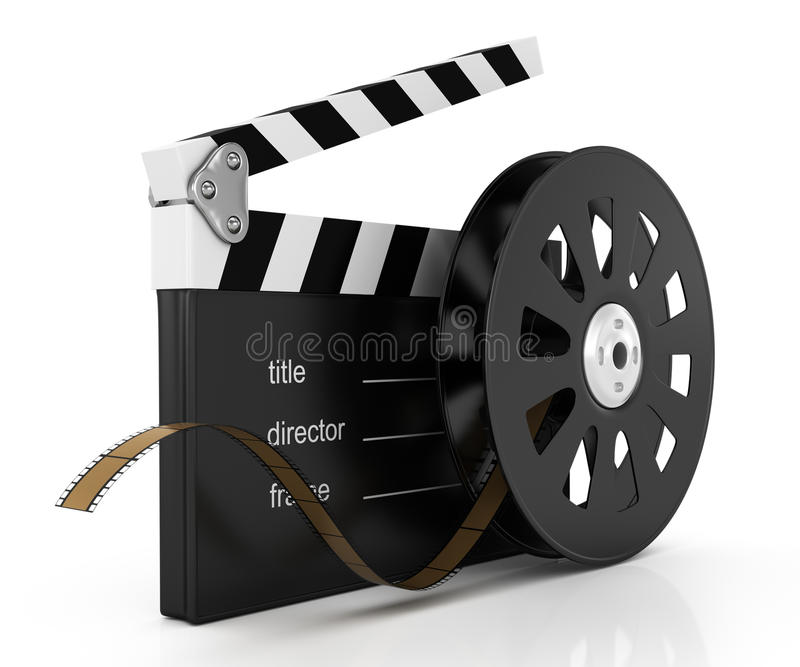 Download Clapperboard and film reel stock illustration. Illustration of nobody - 28388991