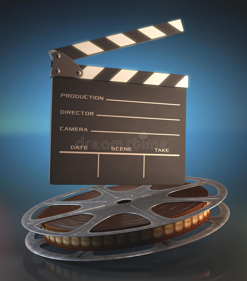 Clapperboard Film. Clapperboard and roll of film in the retro concept cinema stock illustration