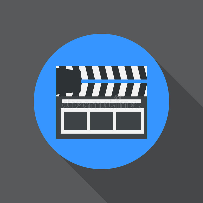 Clapperboard flat icon. Round colorful button, Cinema clapper circular vector sign, logo illustration. vector illustration