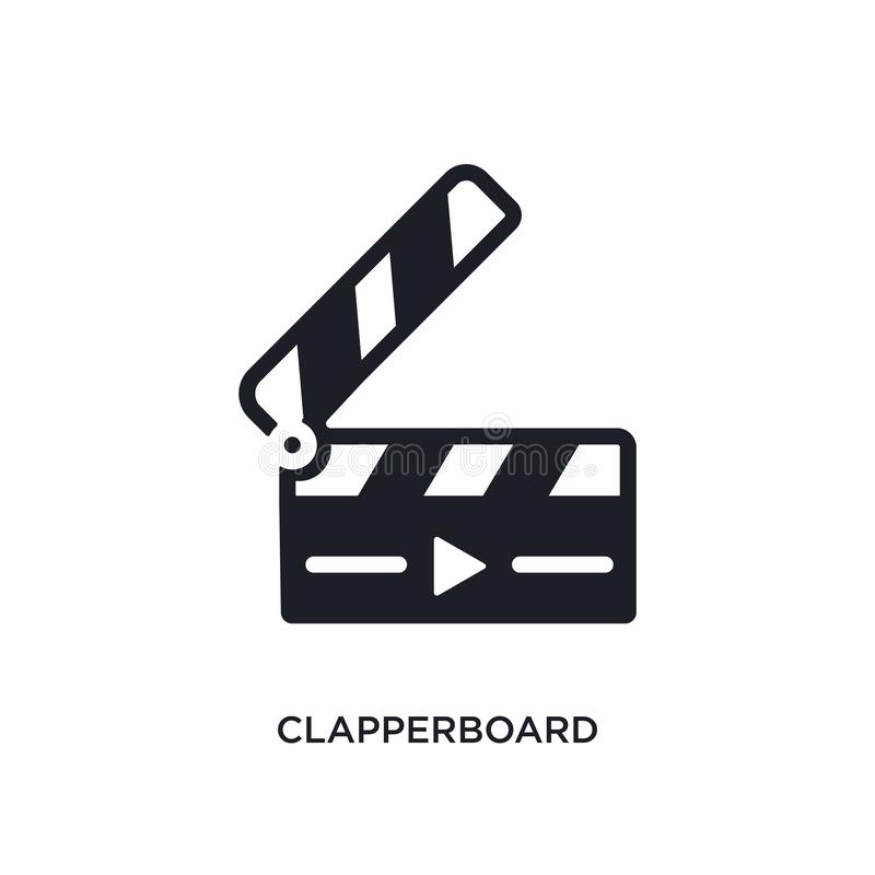 clapperboard geïsoleerd pictogram de eenvoudige elementenillustratie van elektronisch materiaal vult conceptenpictogrammen clappe royalty-vrije illustratie