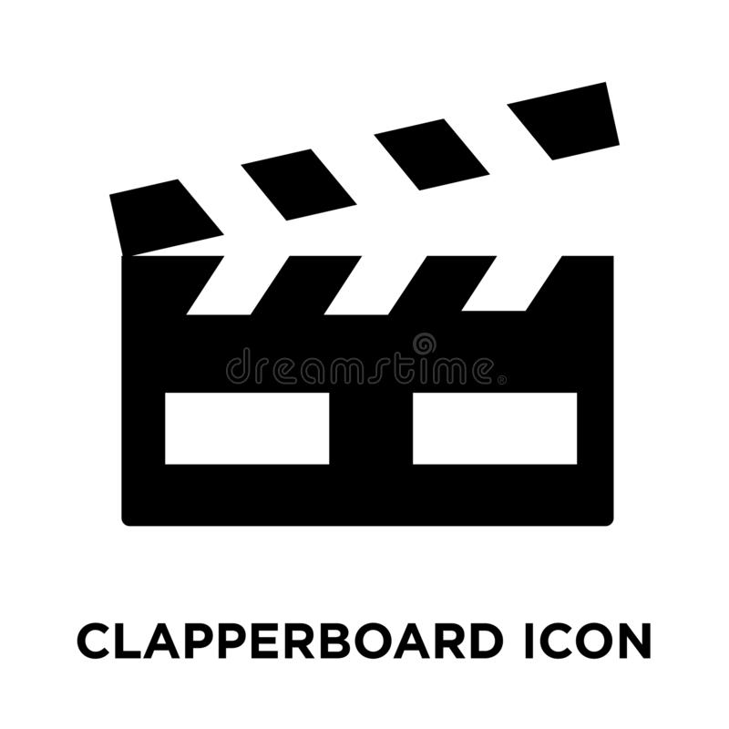Clapperboard icon vector isolated on white background, logo concept of Clapperboard sign on transparent background, black filled vector illustration