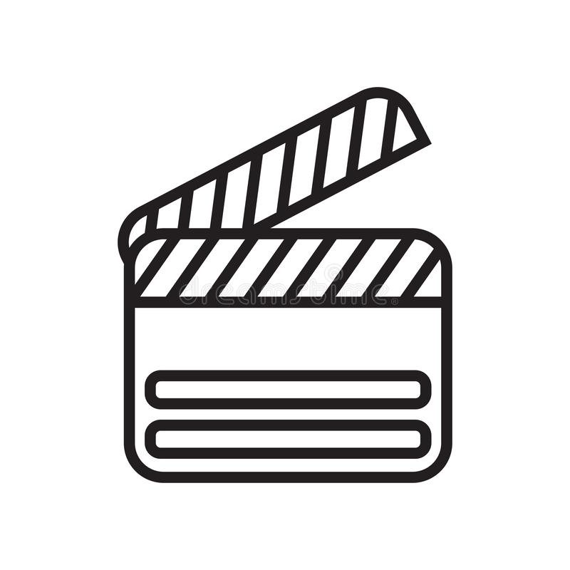 Clapperboard icon vector sign and symbol isolated on white background, Clapperboard logo concept royalty free illustration