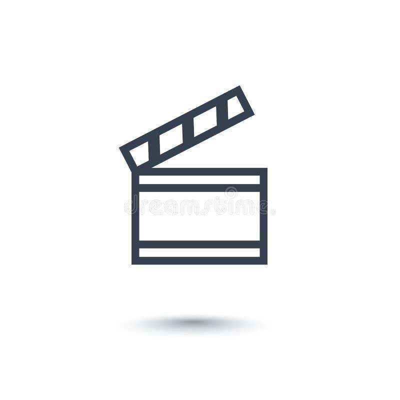 Clapperboard-Ikone auf Weiß lizenzfreie abbildung