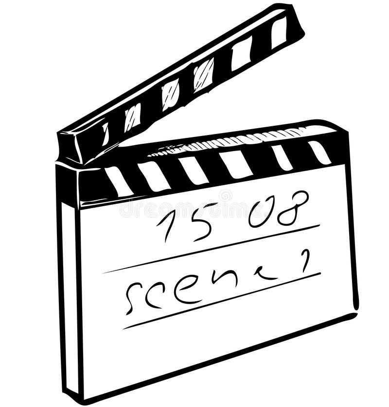 Clapperboard isolated on white. Sketch vector illustration vector illustration