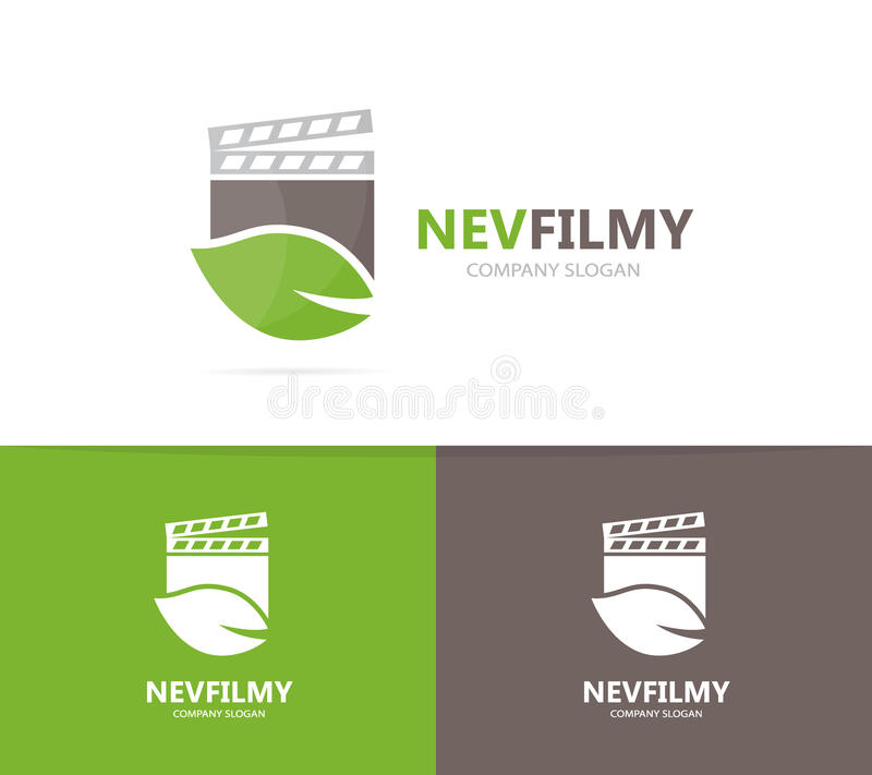 Clapperboard and leaf logo combination. Cinema and eco symbol or icon. Unique organic and video logotype design template royalty free illustration