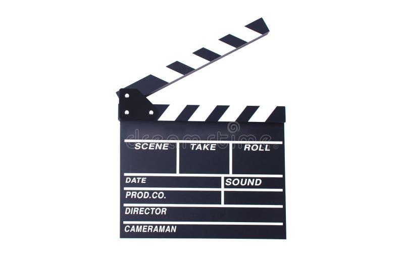 Clapperboard lub łupek dla dyrektor rżniętej sceny w akcja filmu dla fotografia stock