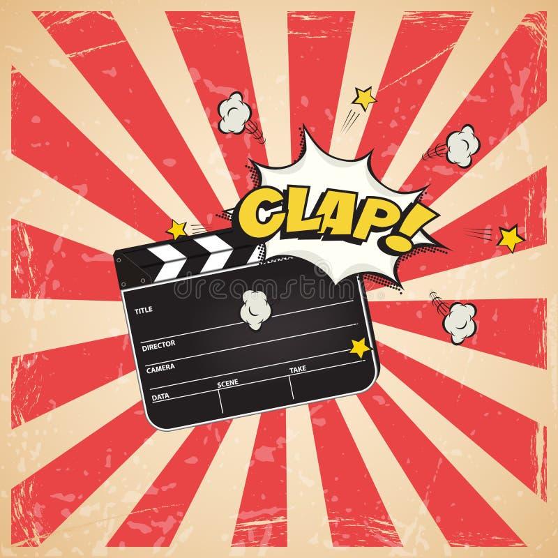 Clapperboard med applådord på tappning gjorde randig bakgrund för popkonst Retro bioillustration för vektor vektor illustrationer