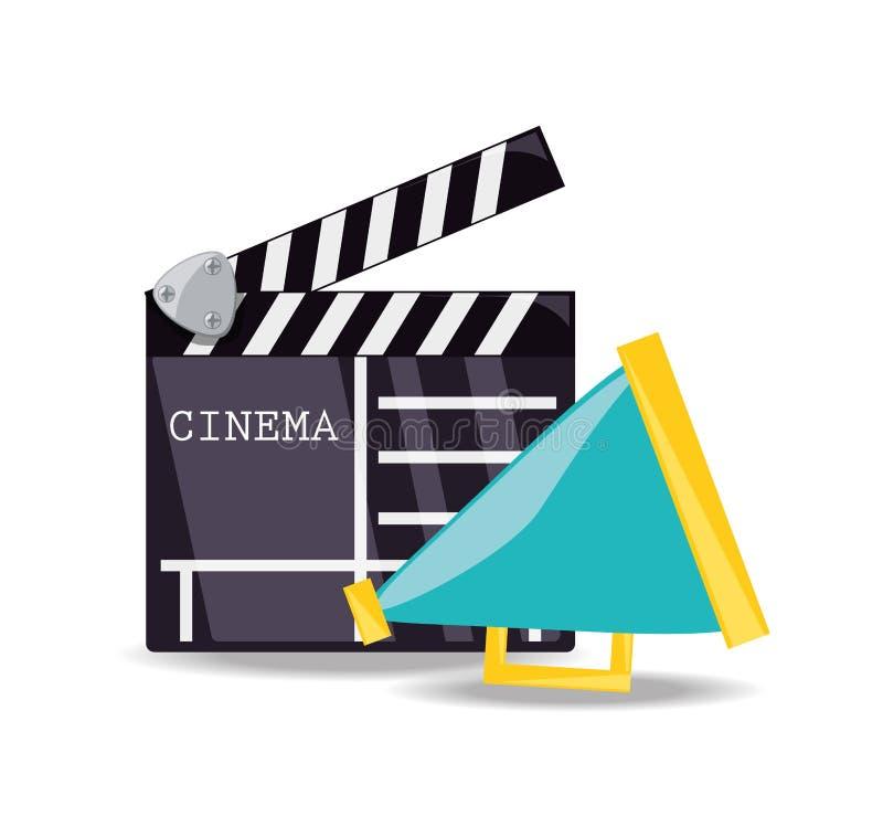 Clapperboard met megafoon scène plotseling om te filmen stock illustratie