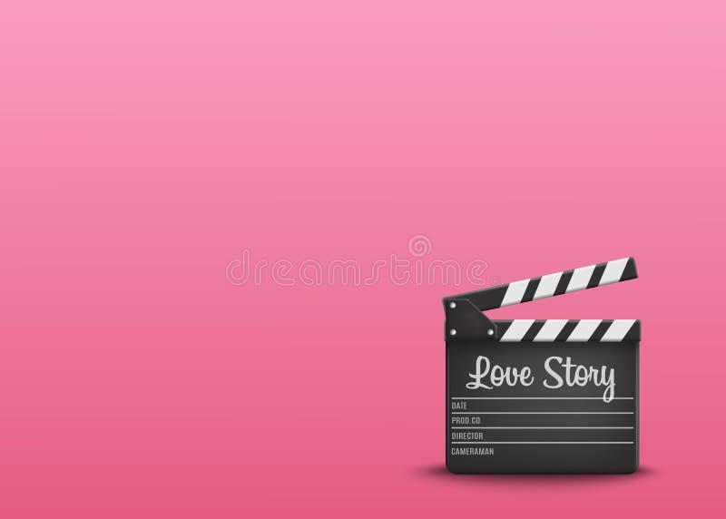 Clapperboard met tekst Love Story op oranje achtergrond Vector vector illustratie