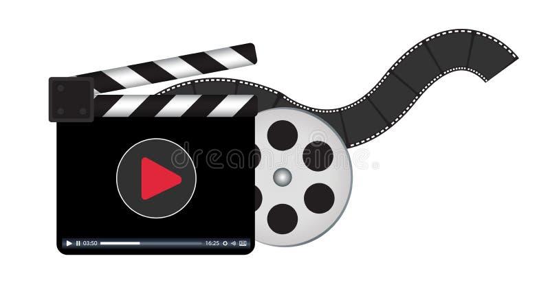 Clapperboard mit strömendem Videologo vektor abbildung