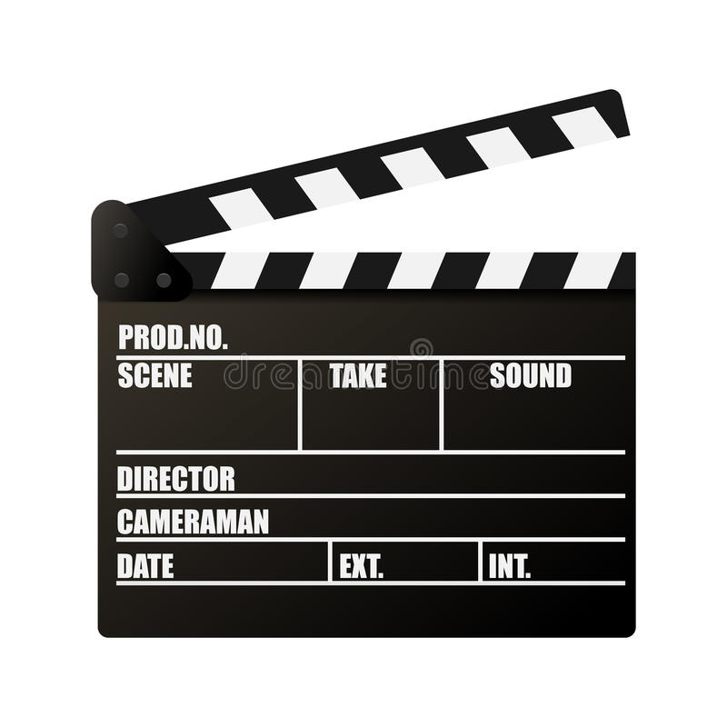 Clapperboard. Movie production sign. Video movie clapper equipment. Filmmaking device. Isolated on background. Vector illustration, eps 10 vector illustration