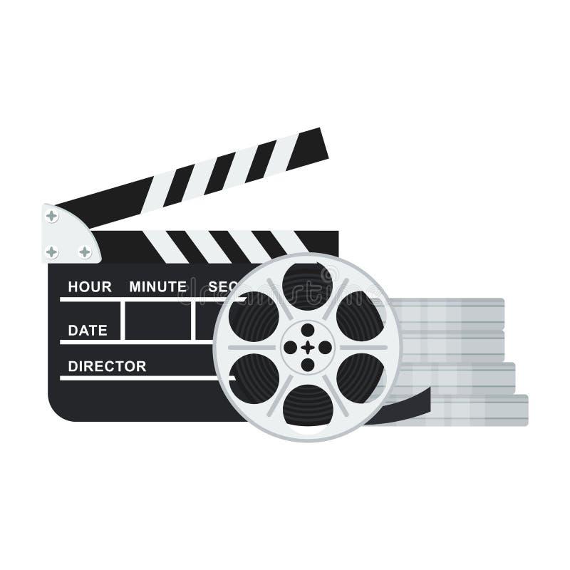 Clapperboard och filmar rullen royaltyfri illustrationer