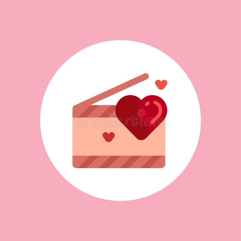 Valentine clapperboard vector icon sign symbol royalty free illustration