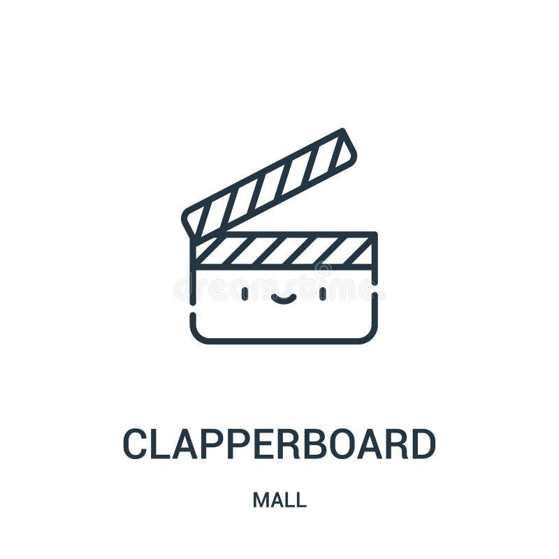 clapperboard pictogramvector van wandelgalerijinzameling De dunne lijn clapperboard schetst pictogram vectorillustratie Lineair s stock illustratie