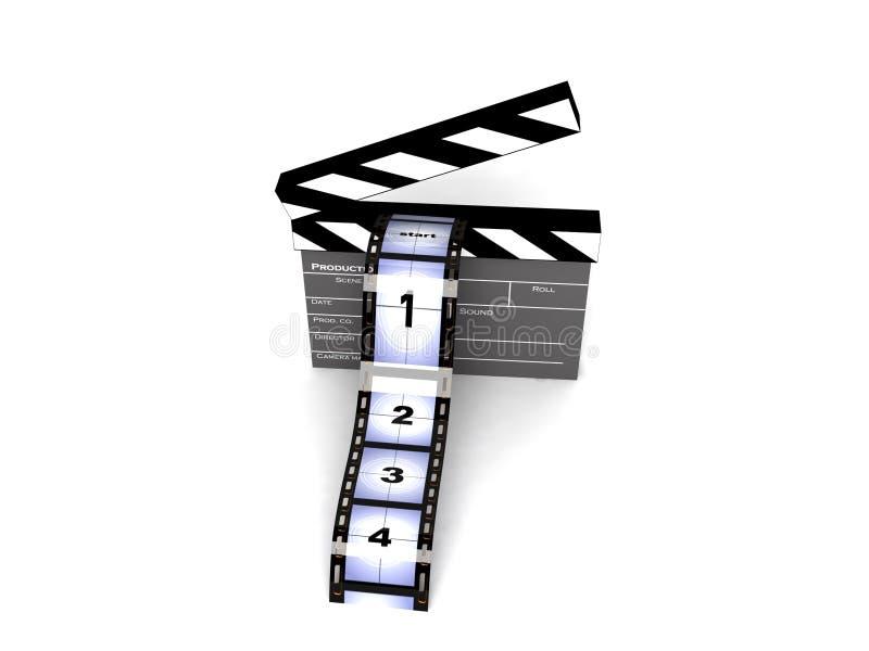 Clapperboard rendido com filmstrips ilustração royalty free
