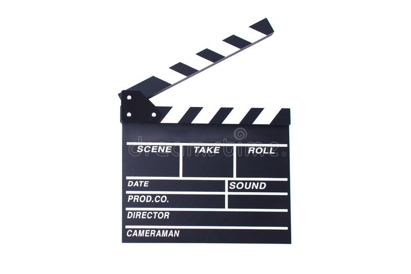 Clapperboard or slate for director cut scene in action movie for. Role play. Entertainment and object theme. Dramatic and Video theme. Black wooden slate stock photography