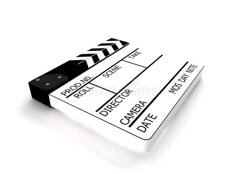 Clapperboard white stock image