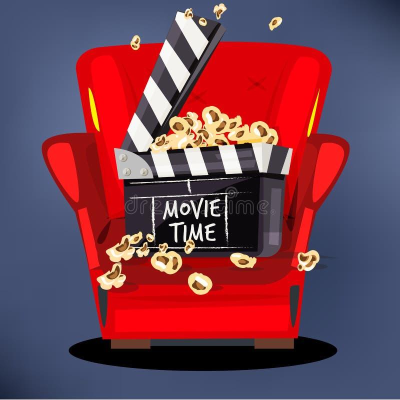 Clapperboard z popkornem na film kanapie - wektor ilustracji