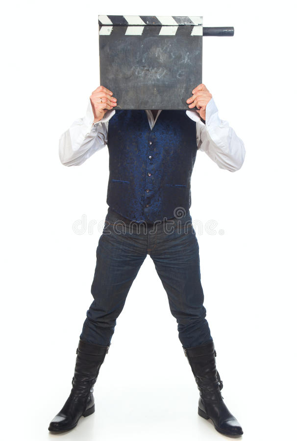 clapperboardman royaltyfri fotografi