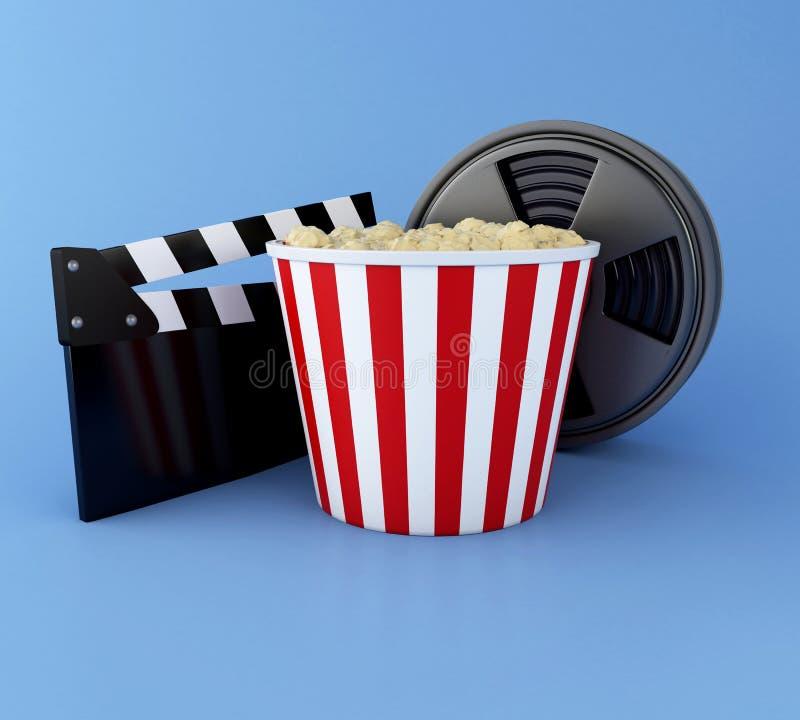 clapperbräde för bio 3d, filmrulle och popcorn stock illustrationer