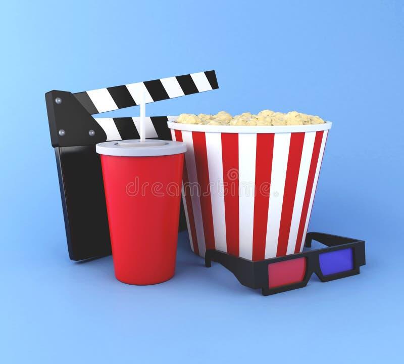 clapperbräde för bio 3d, popcorn, drink och exponeringsglas 3d stock illustrationer