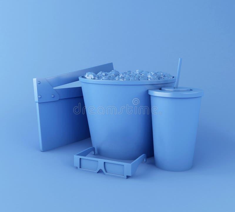 clapperbräde för bio 3d, popcorn, drink och exponeringsglas 3d royaltyfri illustrationer