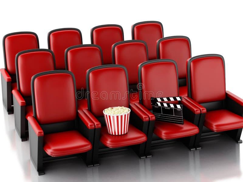 clapperbräde och popcorn för bio 3d på teaterplats stock illustrationer