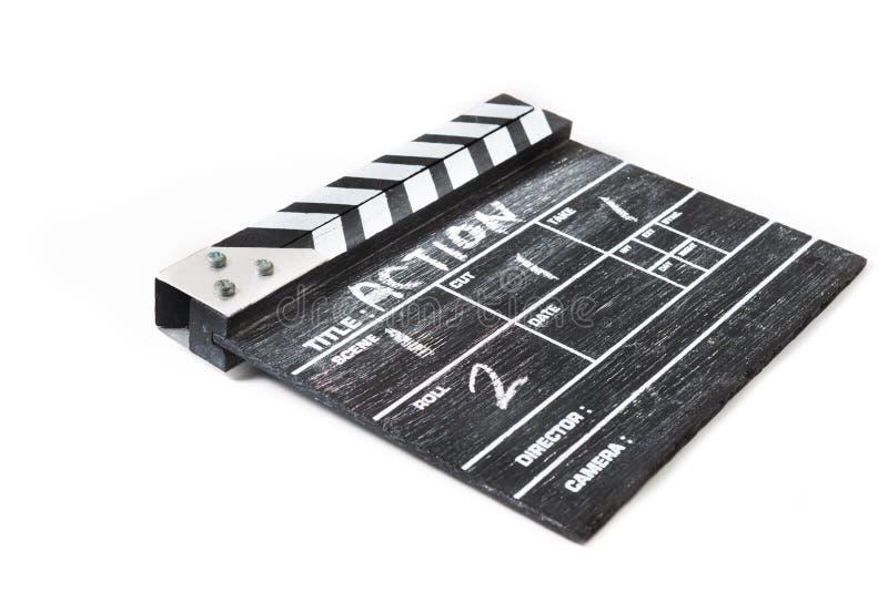 Clapperbräde på vit bakgrundstitelhandling royaltyfri fotografi