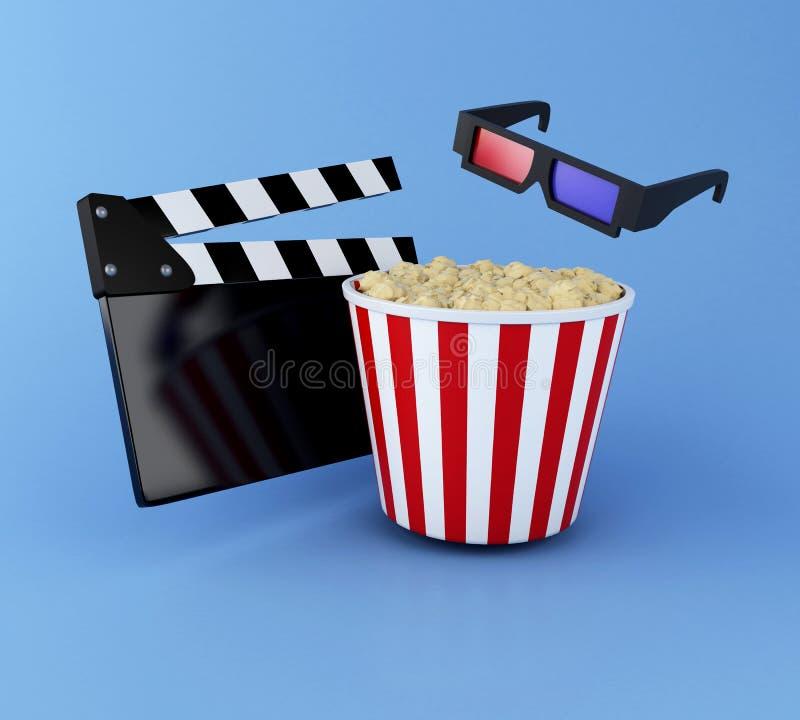 clapperbräde, popcorn och exponeringsglas 3d för bio 3d vektor illustrationer
