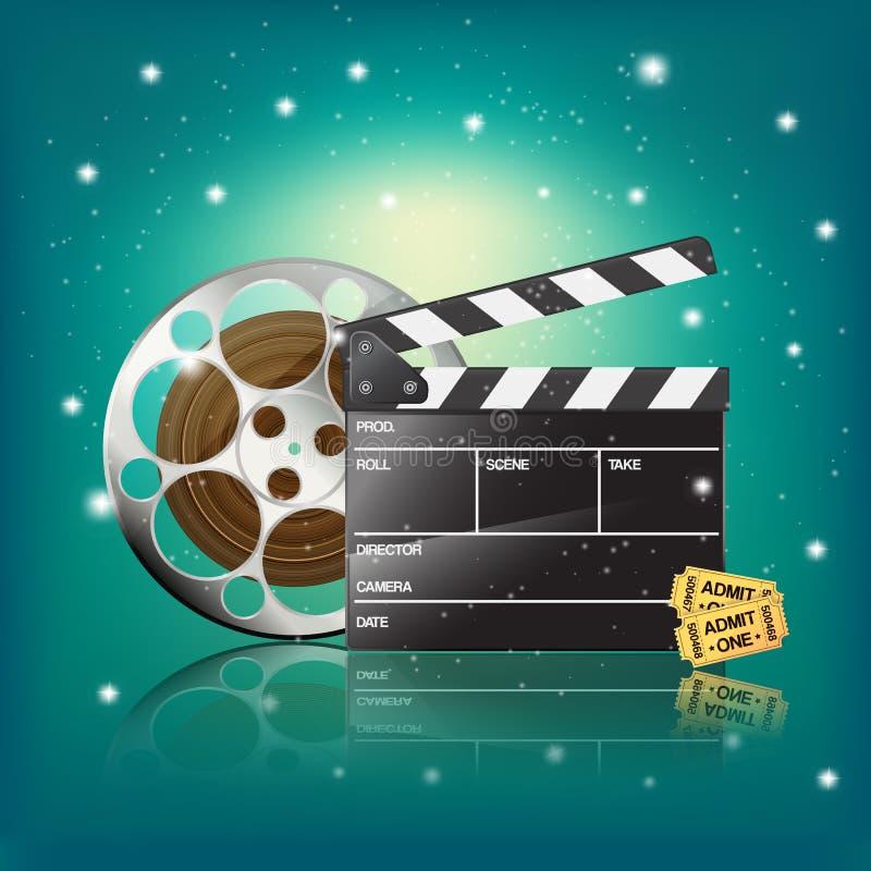 Clapperen bio etiketterar och filmar stock illustrationer