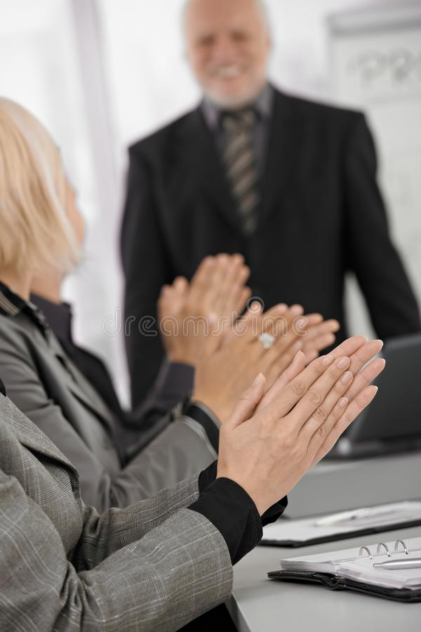 Download Clapping Hands In Focus On Businessmeeting Stock Image - Image: 18489891
