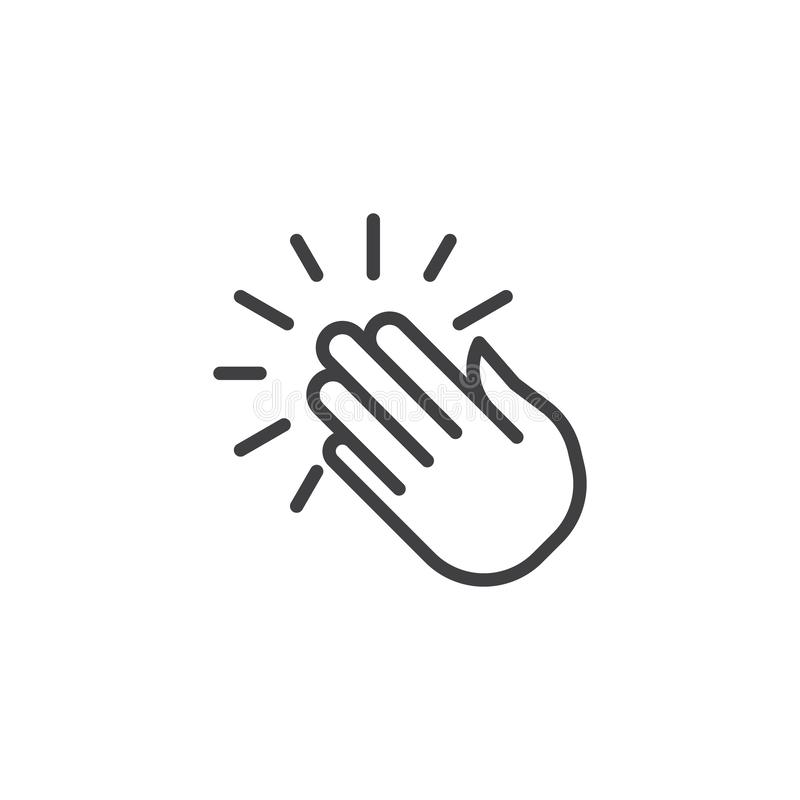 Clapping hands line icon vector illustration