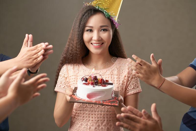 Clapping to birthday girl royalty free stock photos