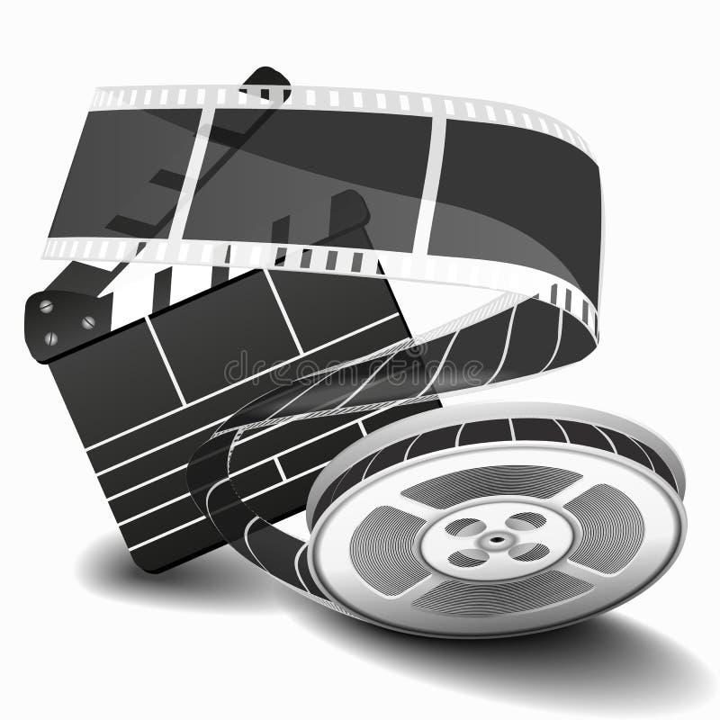Claquette de film ou clapet de film d'isolement sur l'illustration blanche de vecteur Claquette pour le clip vidéo, applaudisseme illustration de vecteur