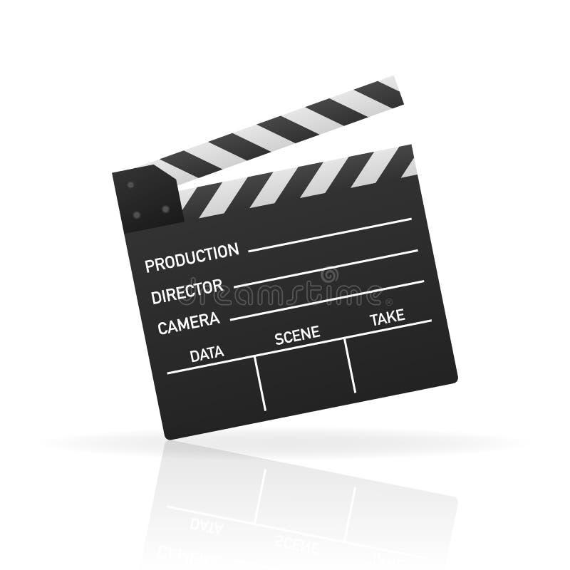 Claquette fermée de noir Panneau noir d'ardoise de cinéma, dispositif utilisé dans le cinéma et production de vidéo Illustration  illustration stock