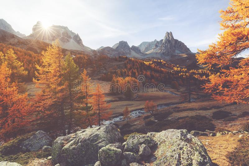 Clarée valley during Autumn in France stock photography