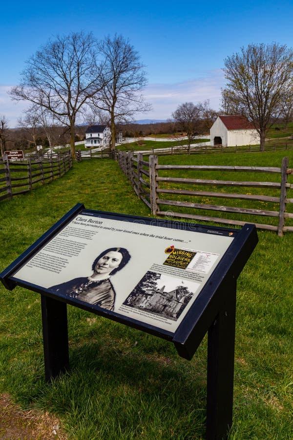 Clara Barton Information Sign on Antietam Battlefield. Sharpsburg, MD, USA - April 10, 2016: The battlefield information guide explaining Clara Barton`s service stock images