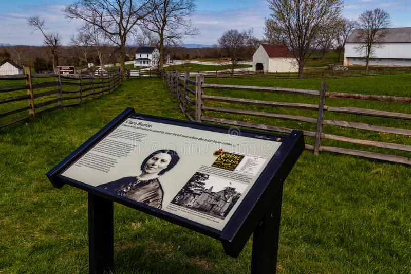 Clara Barton Information Sign on Antietam Battlefield. Sharpsburg, MD, USA - April 10, 2016: The battlefield information guide explaining Clara Barton`s service stock image