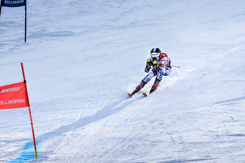 Clara Direz de la France dans le secteur de finition après la deuxième série de slalom géant photographie stock libre de droits