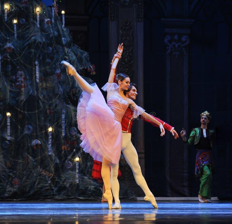 Clara keek rond merkwaardig het het suikergoedkoninkrijk van het tweede handelings tweede gebied - de Balletnotekraker stock foto