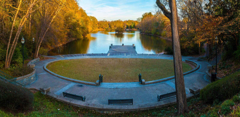 Clara Meer Dock en parc de Piémont, Alanta, Etats-Unis images stock