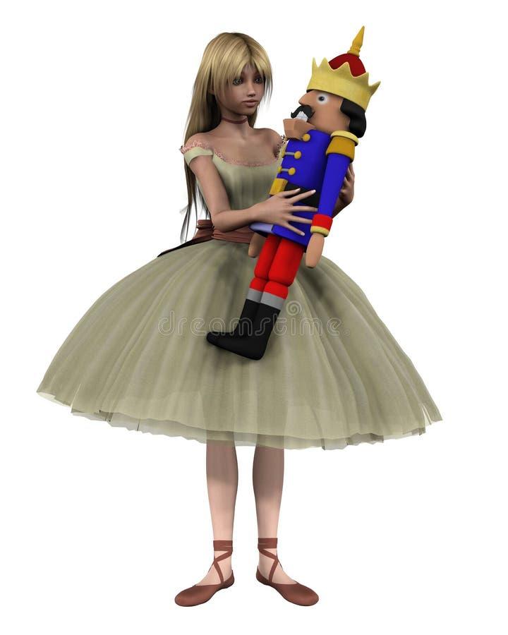 Clara and the Nutcracker Doll - 1. Digital render of Clara and the toy Nutcracker Doll from the Christmas ballet The Nutcracker vector illustration