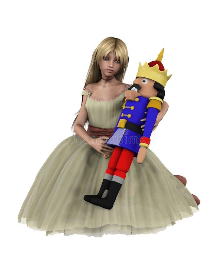 Clara and the Nutcracker Doll - 2. Digital render of Clara and the toy Nutcracker Doll from the Christmas ballet The Nutcracker vector illustration