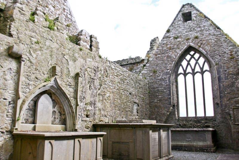 Claregalway男修道院废墟,在爱尔兰西部 图库摄影