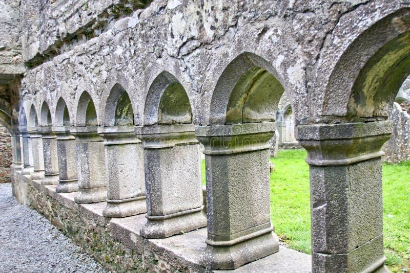 Claregalway男修道院废墟,在爱尔兰西部 库存图片