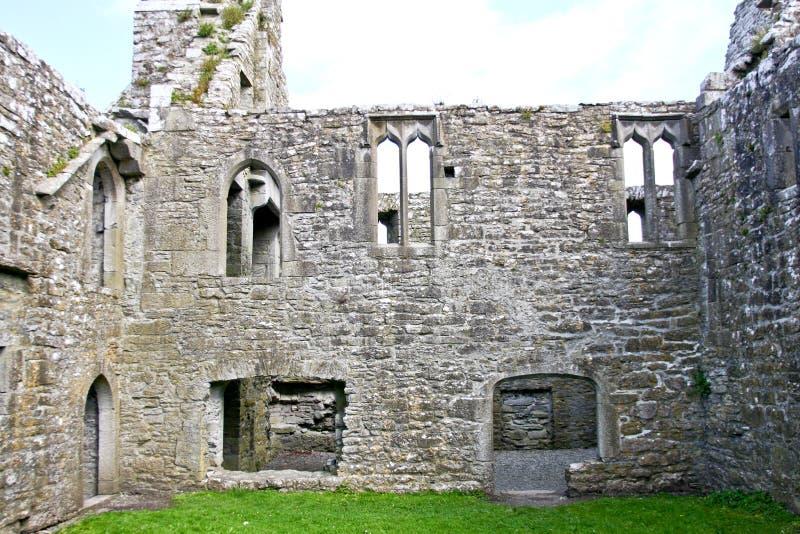 Claregalway男修道院,内部废墟,在爱尔兰西部 库存图片
