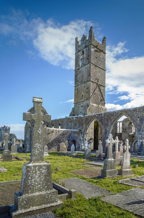 Claregalway Friary, Ireland. Claregalway Friary is a medieval Franciscan abbey located in the town of Claregalway, County Galway, Ireland stock images