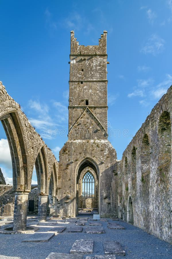 Claregalway Friary, Ireland. Claregalway Friary is a medieval Franciscan abbey located in the town of Claregalway, County Galway, Ireland royalty free stock images