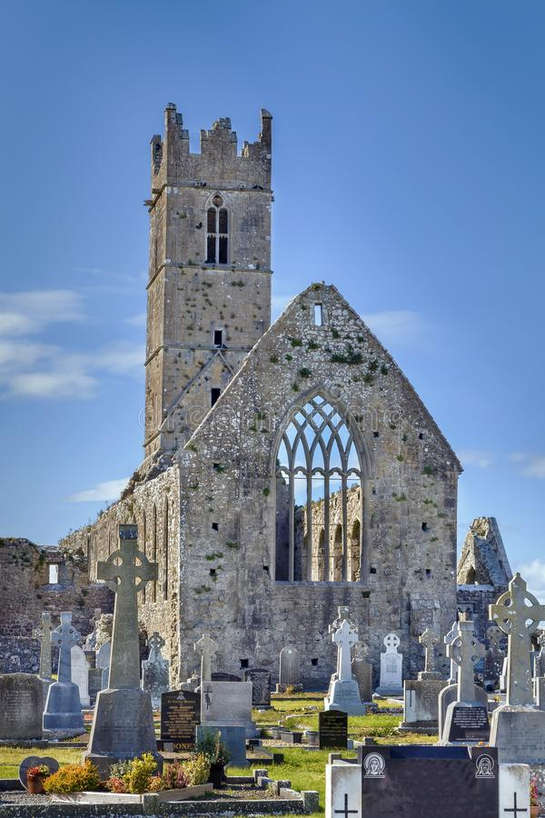 Claregalway Friary, Ireland. Claregalway Friary is a medieval Franciscan abbey located in the town of Claregalway, County Galway, Ireland royalty free stock photo