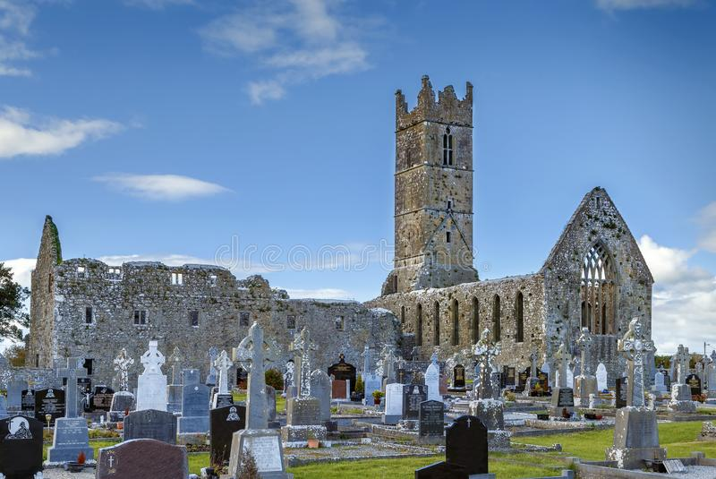 Claregalway Friary, Ireland. Claregalway Friary is a medieval Franciscan abbey located in the town of Claregalway, County Galway, Ireland stock photos